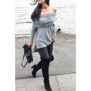 grey off shoulder sweater